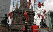 Andamio multidireccional en trabajos en el Ángel de la Independencia
